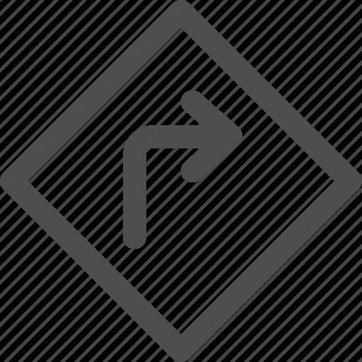 arrows, corner, direction, orientation, road, sign icon