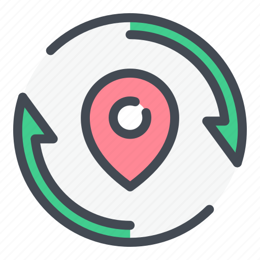 direction, location, marker, navigation, pin, pointer, update icon