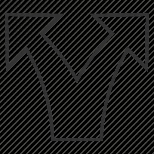 arrow, connection, disconnect, divide, navigation, separate, split arrows icon