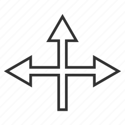 arrow, connection, cross, crossroad, intersection, navigation, split arrows icon