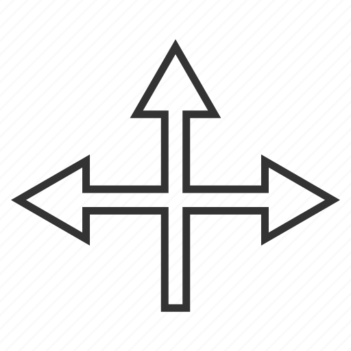 arrow, connection, cross, crossroad, intersection, navigation, split arrows icon