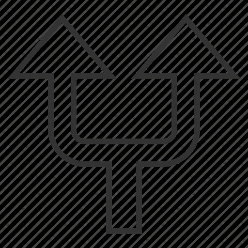 arrow up, choice, connection, divide, junction, separate, split arrows icon