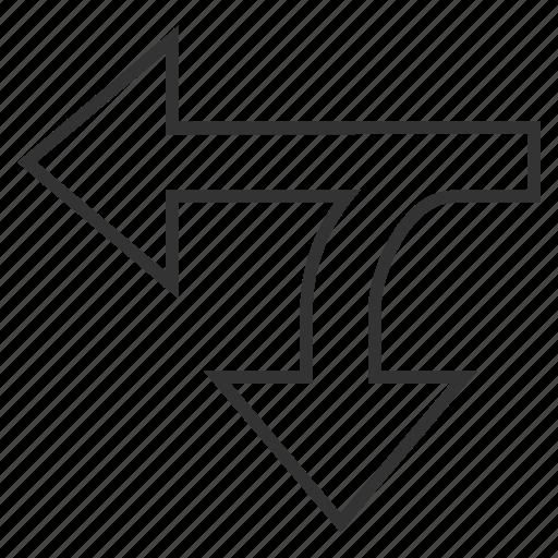 arrow, connection, direction, disconnect, left down, navigation, split arrows icon