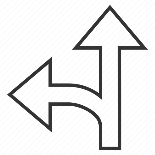 arrow, connection, direction, forward, left up, navigation, split arrows icon