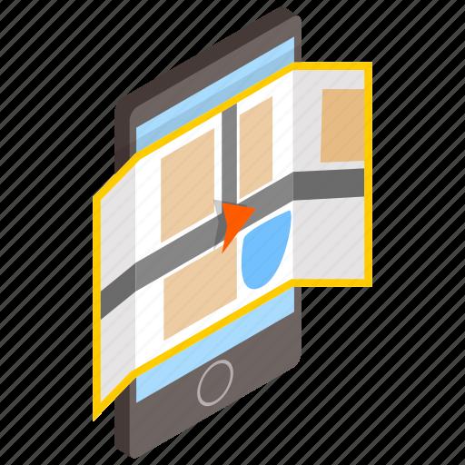 isometric, location, map, phone, road, smartphone, travel icon