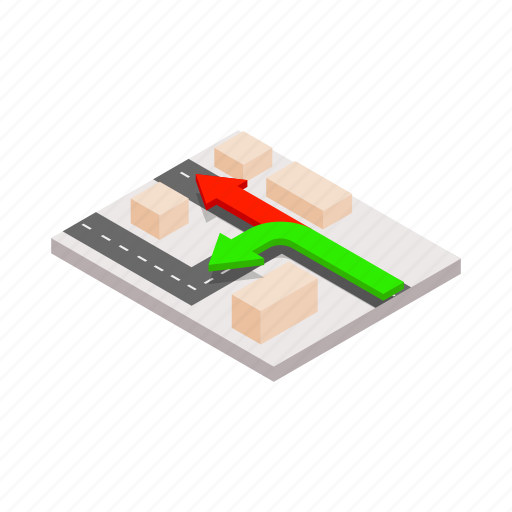arrow, cartography, direction, isometric, map, navigation, route icon
