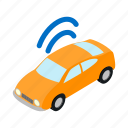 automobile, car, internet, isometric, transport, transportation, wifi icon