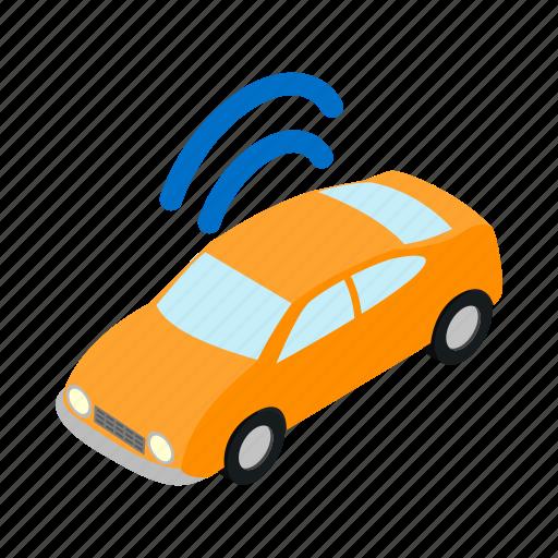 automobile, car, internet, isometric, transport, transportation, wifi icon