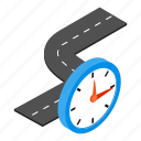 clock, isometric, road, street, transportation, travel, way icon