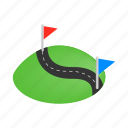direction, flag, isometric, map, road, speed, way icon