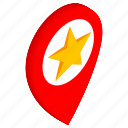 direction, isometric, location, map, pin, pointer, star icon
