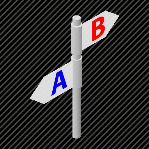 arrow, blank, direction, information, isometric, road, way icon