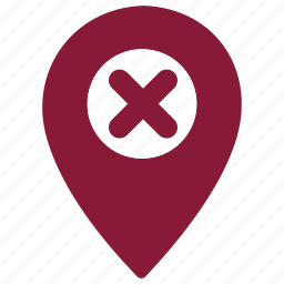 cross, error, gps, location, navigation icon