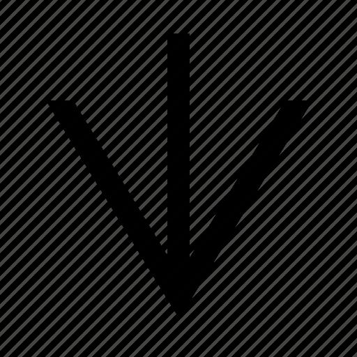 arrow, clean, down, linear, wide icon