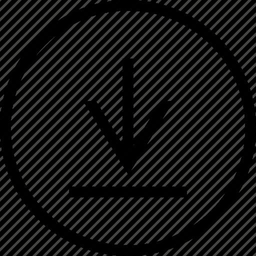 arrow, circle, down, tab icon