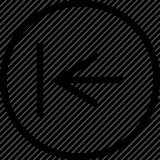 arrow, circle, left, tab icon