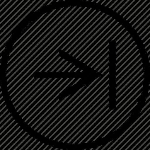 arrow, circle, right, tab icon