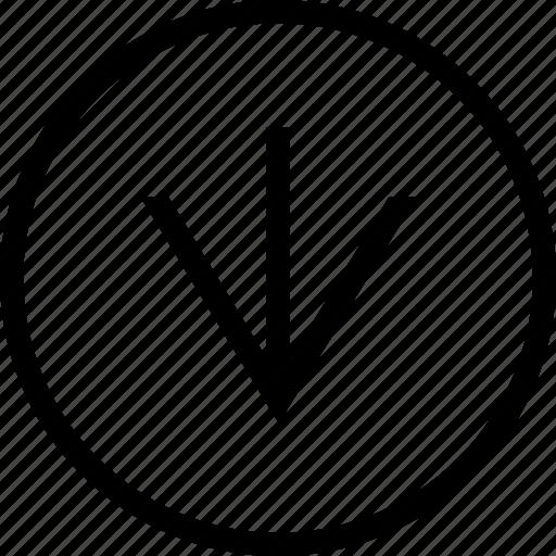 arrow, circle, clean, down, linear, wide icon