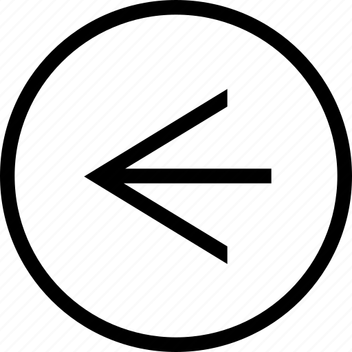 arrow, circle, clean, left, linear, wide icon