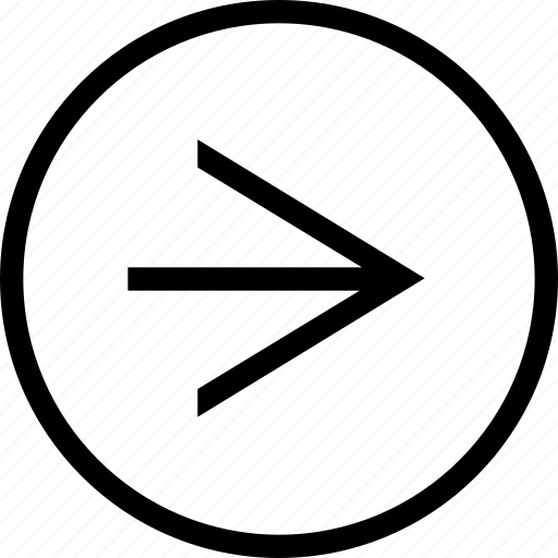 arrow, circle, clean, linear, right, wide icon