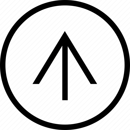 arrow, circle, clean, linear, up, wide icon