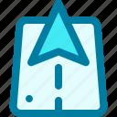 arrow, direction, gps, location, navigation, road