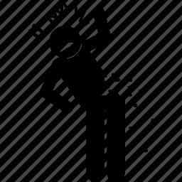 break, brittle, broken, fragile, man, person icon