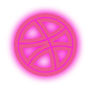 dribbble, media, neon, set, social icon