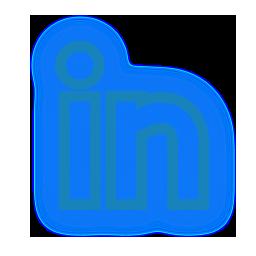 linkedin, media, neon, set, social icon
