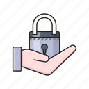hand, lock, private, protection, secure