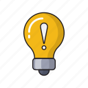 alert, bulb, light, sign, warning