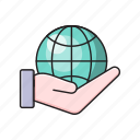 global, hand, internet, protection, world