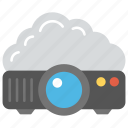 cloud computing projector, cloud projector, cloud-based presentation, cloud-connected projector, digital projector icon
