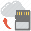 backup, cloud sd card, cloud storage, digital storage, sd card to cloud icon