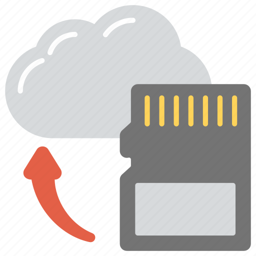 backup, cloud sd card, cloud storage, digital storage, sd card to cloud icon