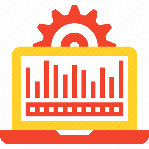 chart, computer, data, monitoring, processing, settings, system icon