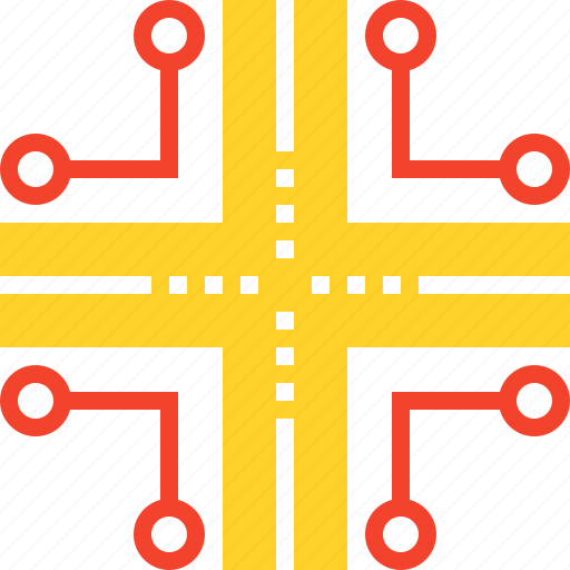 communication, data, infrastructure, network, road, routing, traffic icon