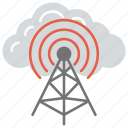 cloud computing and wifi, cloud computing tower, signal tower, wifi tower, wireless antenna icon