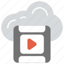 cloud multimedia, cloud video streaming, digital multimedia, multimedia cloud computing, online video icon