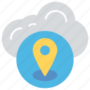 cloud gps computing, cloud tracker, gps concept, navigation technology, web locationing icon