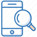 magnifier, magnifying lens, mobile scanning, mobile search, smartphone icon