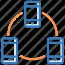 application development, mobile connected, mobile development, mobile hierarchy, seo icon