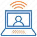chat support, laptop, live chat, video call, wifi signals icon
