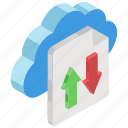 cloud data, cloud storage, data download, data transfer, data transmission, data uploading icon