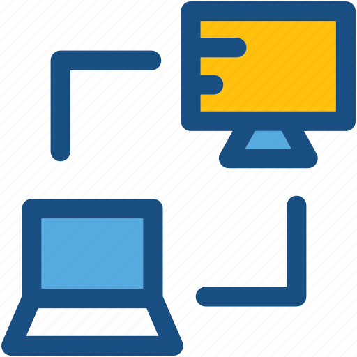 client server, computer sharing, laptop, monitor, networking icon