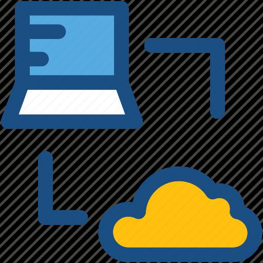 cloud computing, cloud connection, cloud drive, cloud network, laptop icon