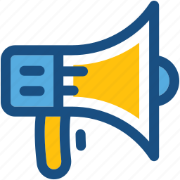 announcement, bullhorn, loud hailer, megaphone, speaking trumpet icon