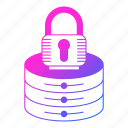 data, hosting, lock, network, security, server icon