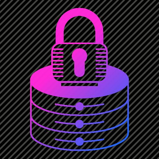 data, hosting, lock, network, security, server icon