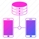 data, hosting, network, phone, smartphone icon